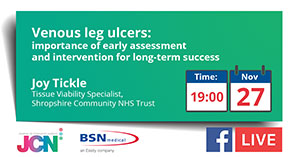 Facebook Live: Venous leg ulcers: importance of early assessment and intervention for long-term success